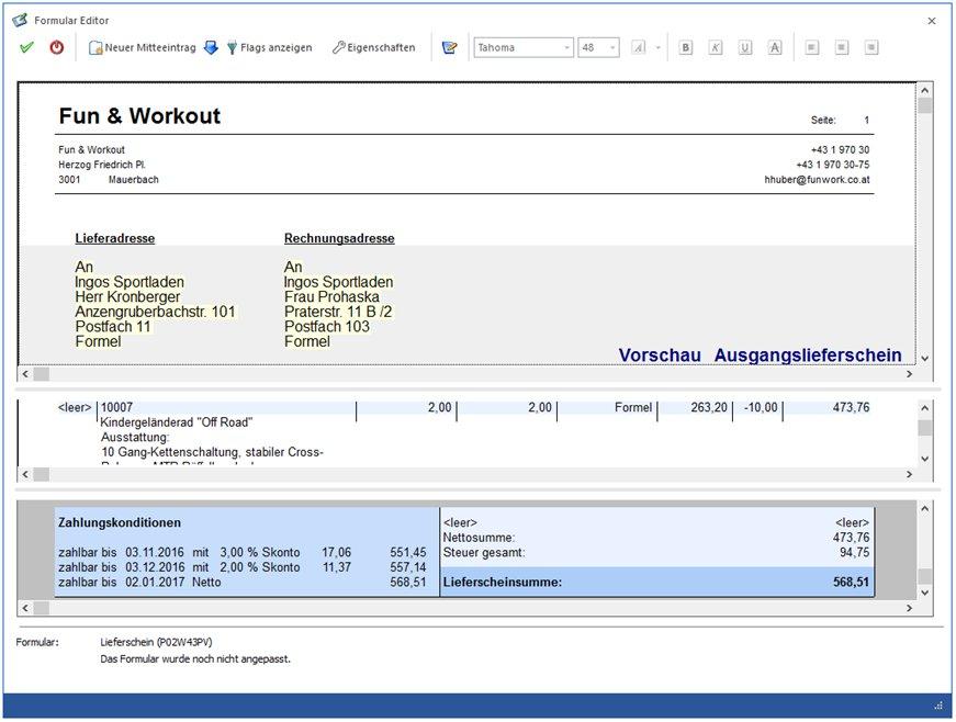 Vereinfachte Anzeige im WinLine Formulareditor mit Echtdaten